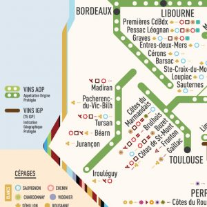 zoom carte des stations AOP cépages bordeaux, toulouse, libourne