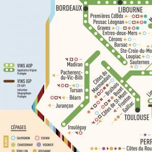 zoom carte des stations AOP cépages bordeaux, toulouse, libourne