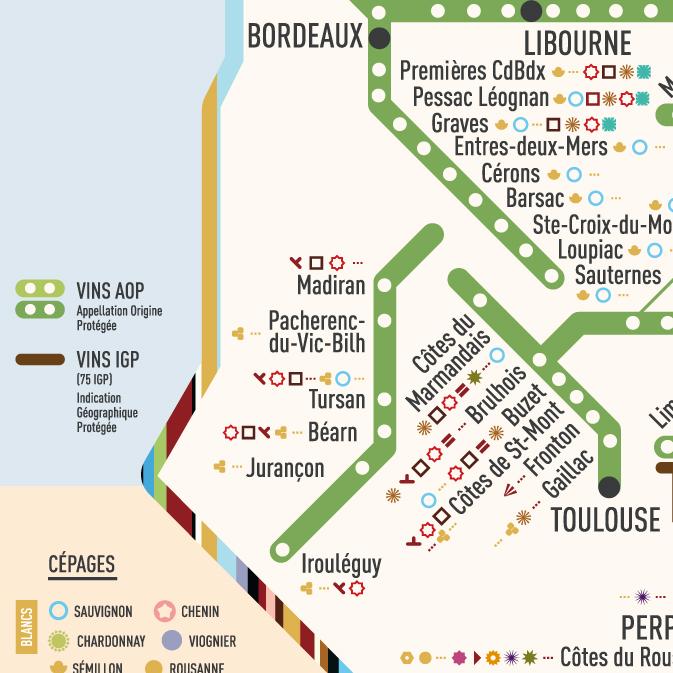Carte Des Vins Bordeaux.Carte Des Vins Aop Et Leurs Cepages 60x40 A2