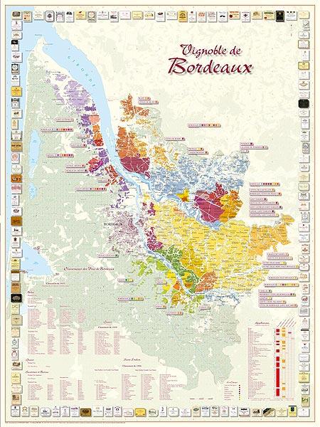 Carte Des Vins Bordeaux.Vignoble De Bordeaux 66x88