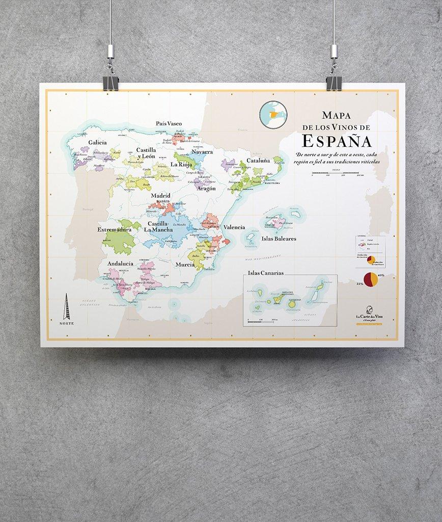 Carte Vin Espagne.Carte Vignoble D Espagne 50x70