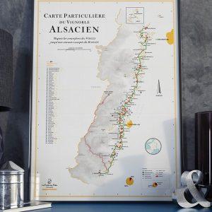 Carte particulière du vignoble alsacien, carte des vins