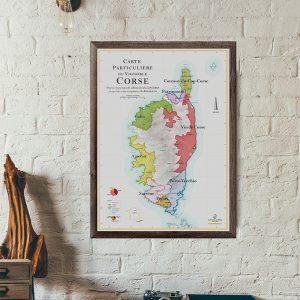 Carte particulière du vignoble Corse, carte des vins
