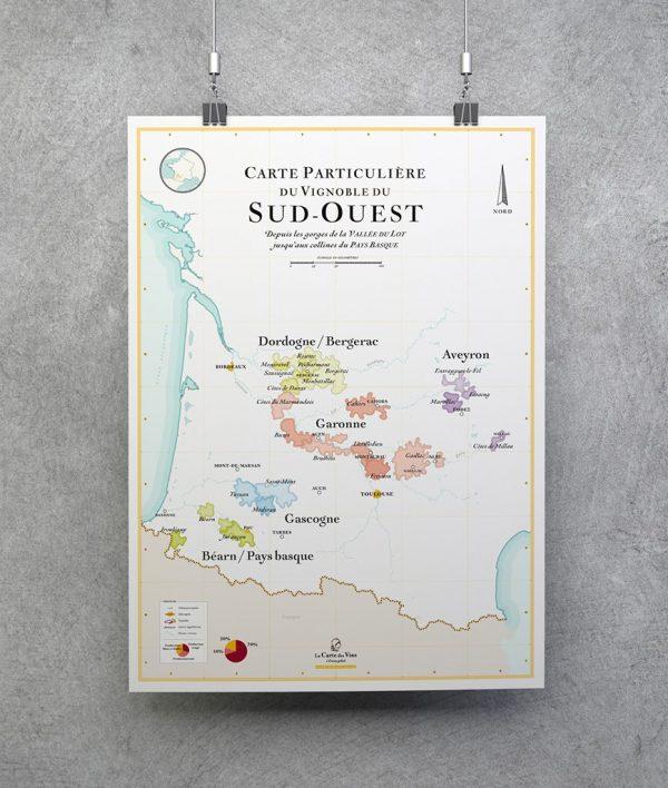 carte particulière du vignoble du sud-ouest, carte des vins