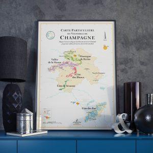 Carte particulière du vignoble de champagne, carte des vins