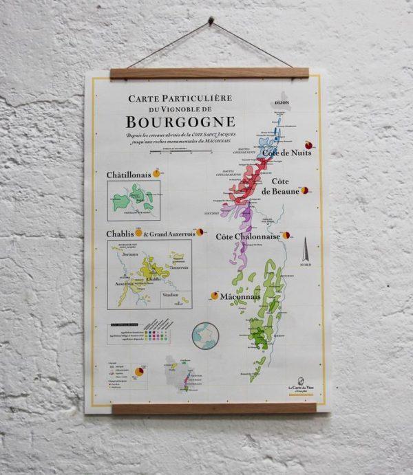 carte particulière du vignoble de bourgogne, carte des vins