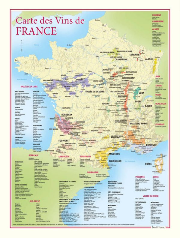 ancienne carte des vins de france
