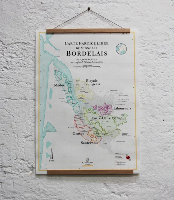 carte particulière du vignoble bordelais, carte des vins
