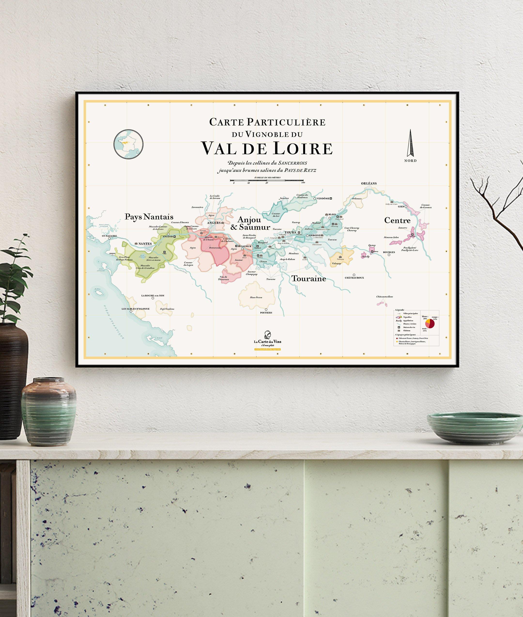 carte particulière du vignoble du val de loire, carte des vins