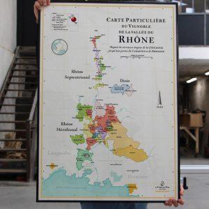 carte particulière du vignoble de la vallée du rhône, carte des vins