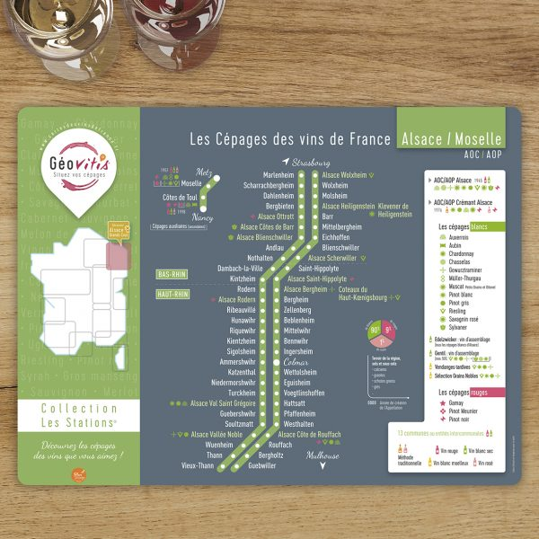 Set de table Les Stations Geovitis Cépages Alsace