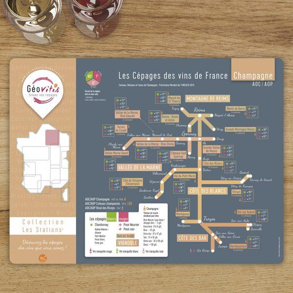 Set de table Les Stations Geovitis Cépages Champagne