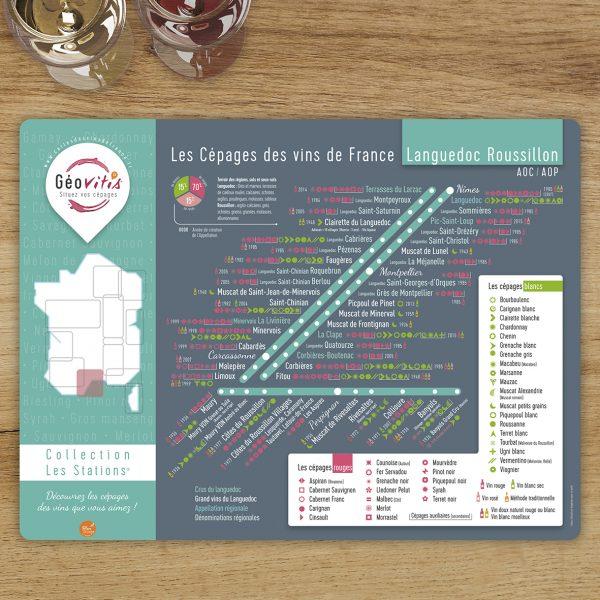 Set de table Les Stations Geovitis Cépages Languedoc Roussillon