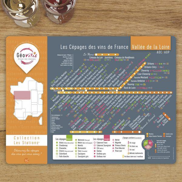 Set de table Les Stations Geovitis Cépages Loire