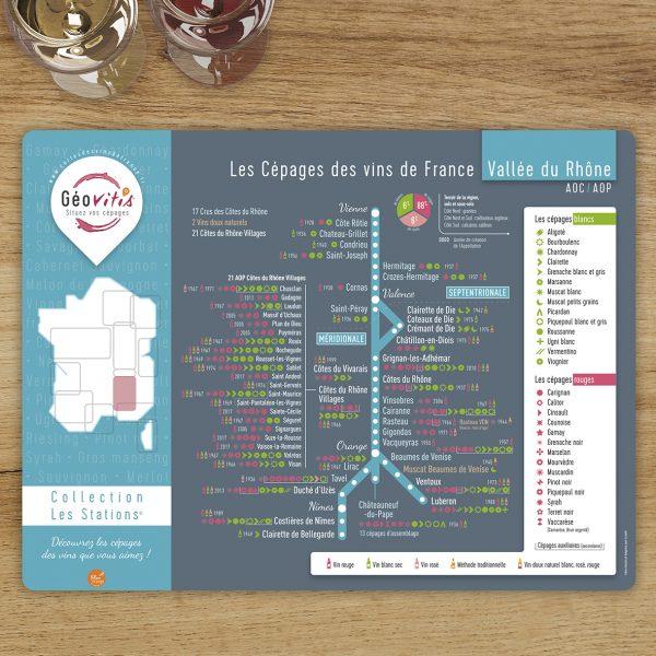 Set de table Les Stations Geovitis Cépages Rhône