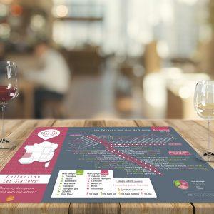 Set de table Les Stations Geovitis Cépages Bordeaux