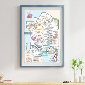 Carte de France Les Stations Pétillante 50x70