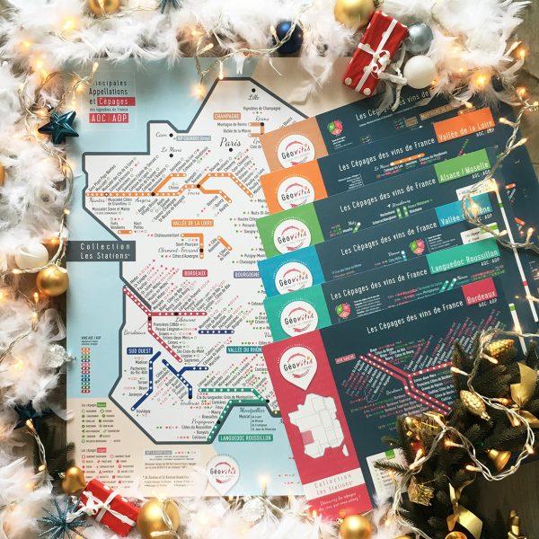 Offre Noël Carte Pétillante 50x70 Les Sations et 6 Sets de table Les Stations