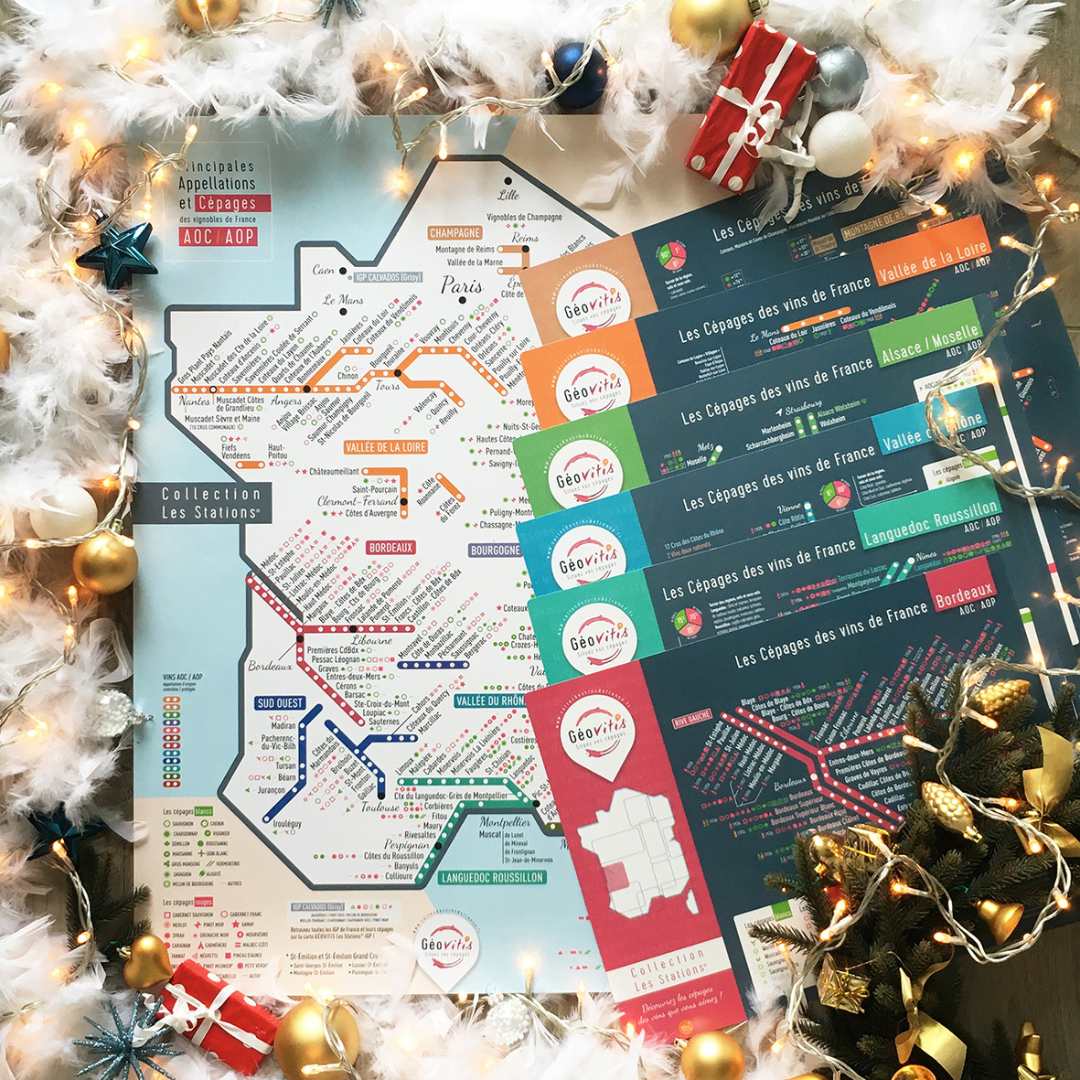 Offre Noël Carte Pétillante 50x70 Les Sations et 6 Sets de table Les Stations