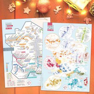 Offre Noël 2 Cartes Pétillantes Les STATIONS et Géographique 50x70