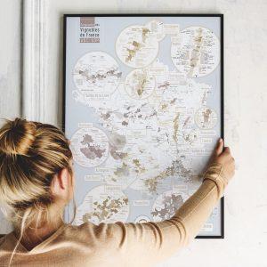 Carte France geographique AOC / AOP - Géovitis Elégante 50x70