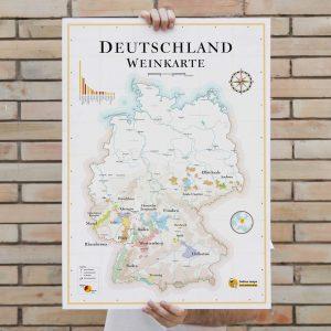 Carte vins Allemagne Deutschland 50x70