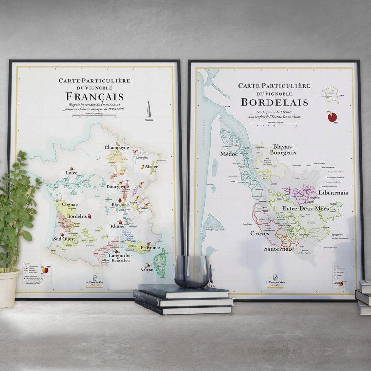 Offre Duo Carte du vignoble de France et Carte du vignoble de Bordeaux 50x70