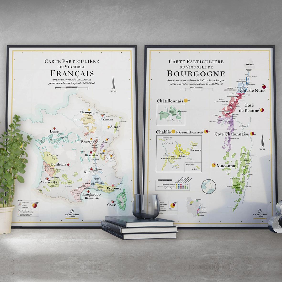 Offre Duo Cartes SVP France et Bourgogne 50x70