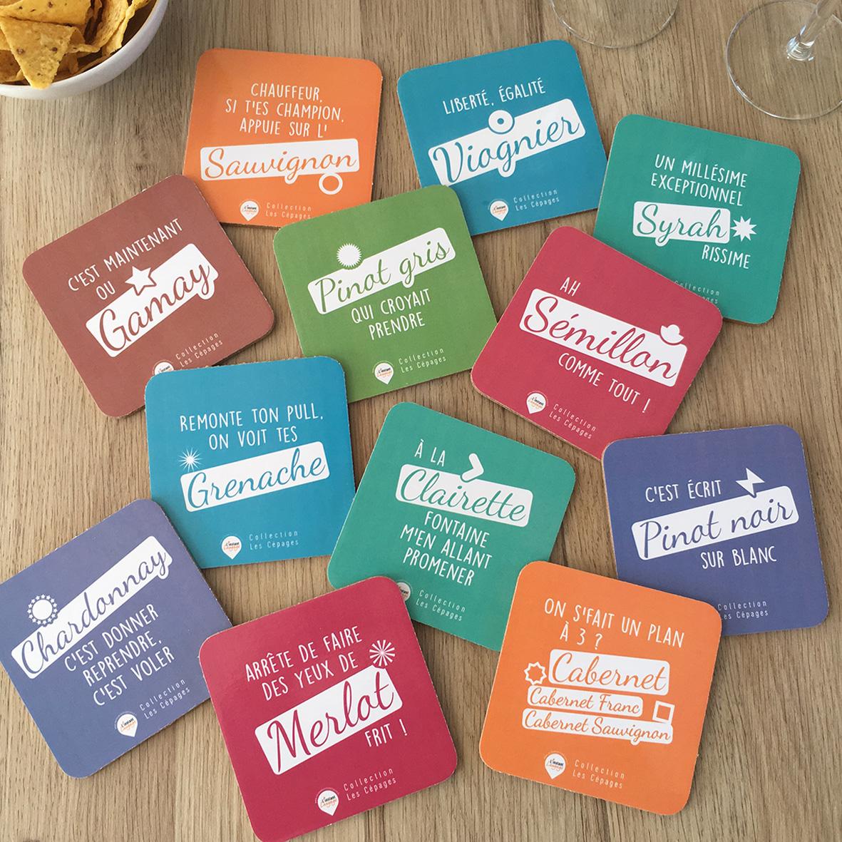 Sous-verres-humouristiques-Cepages-Blancs-et-Rouges-x12