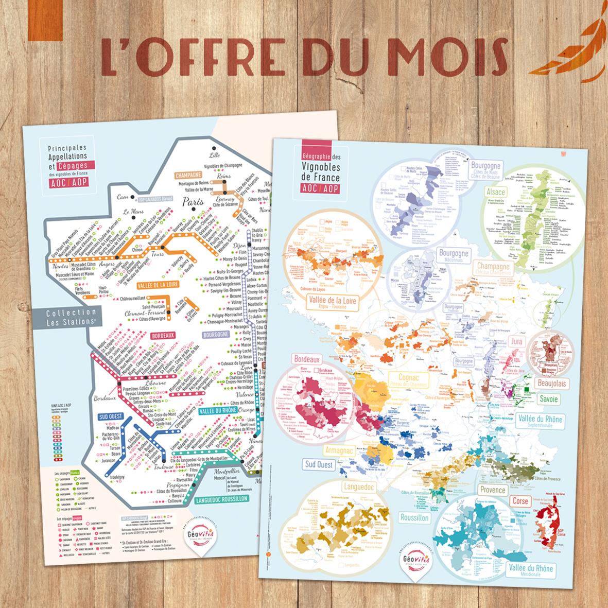 Offre du Mois 2 Cartes Pétillantes Les STATIONS et Géographique 50x70