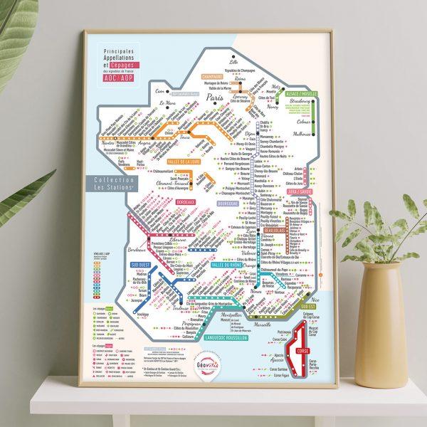 Carte de France des vins Les Stations Pétillante Géovitis 50x70