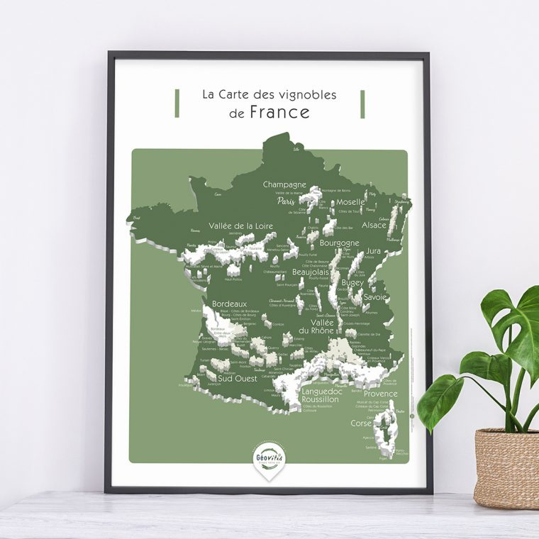 Carte France Vins GEOVITIS DECOUVERTE Captivante 50x70