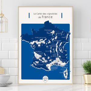 Carte France Vins GEOVITIS DECOUVERTE Conquérante 50x70