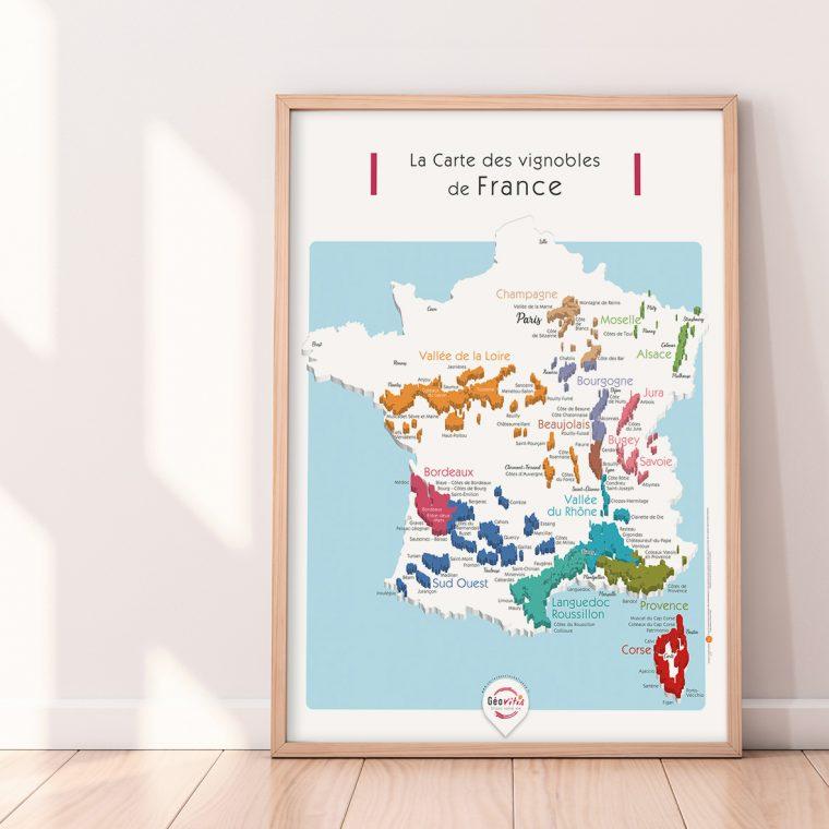 Carte France Vins GEOVITIS DECOUVERTE Pétillante 50x70