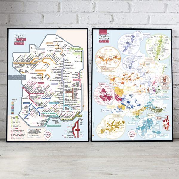 Offre Duo 2 Cartes Pétillantes Les STATIONS et Géographique 50x70