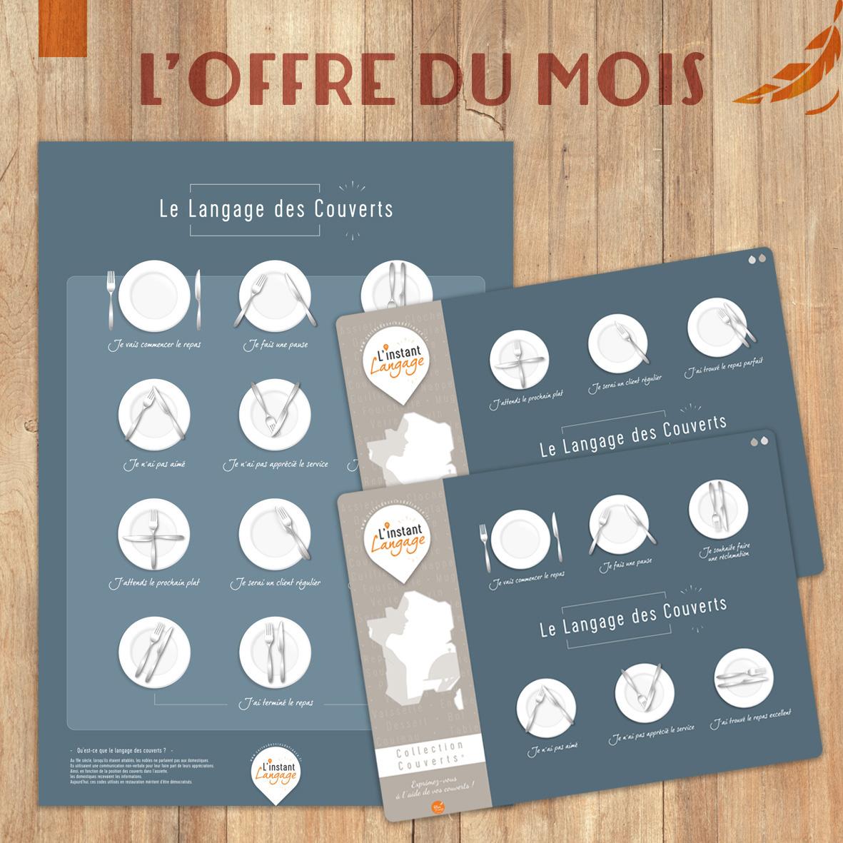 Offre du Mois Le Langage des Couverts : 1 affiche 50x70 + 2 sets de table