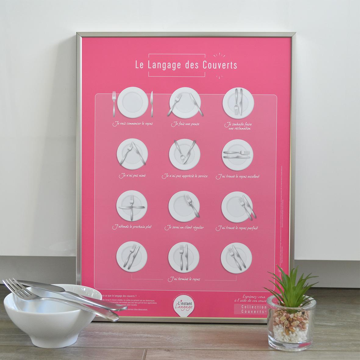 Affiche Le Langage des Couverts L'instant Langage 30x40 Charmante