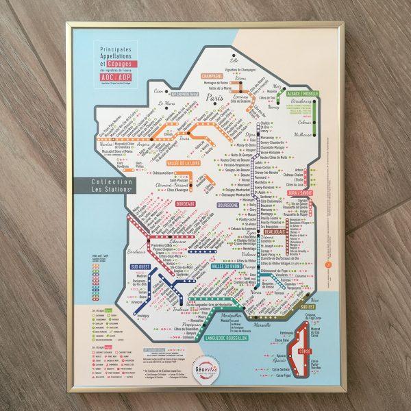 Carte de France des vins Les Stations Pétillante Géovitis AOP 30x40