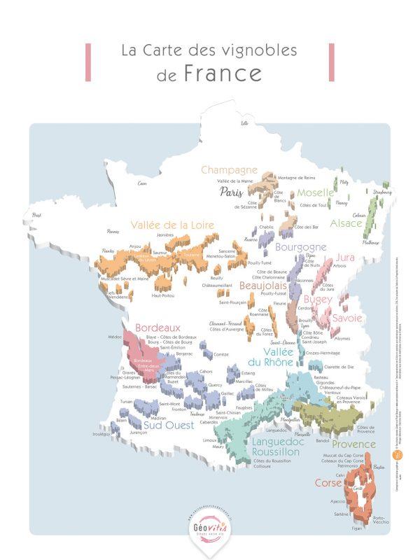 Carte France Vins GEOVITIS DECOUVERTE Apaisante 30x40