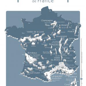 Carte France Vins GEOVITIS DECOUVERTE Surprenante 30x40