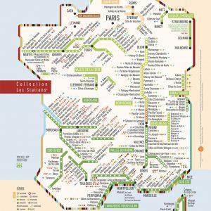 Carte de France des vins Les Stations AOP Originale Géovitis 30x40