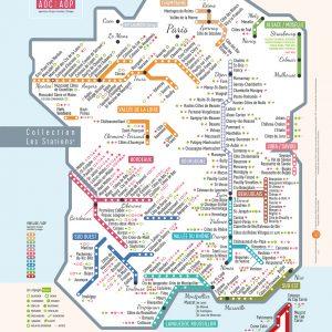 Carte de France des vins Les Stations AOP Pétillante Géovitis 30x40