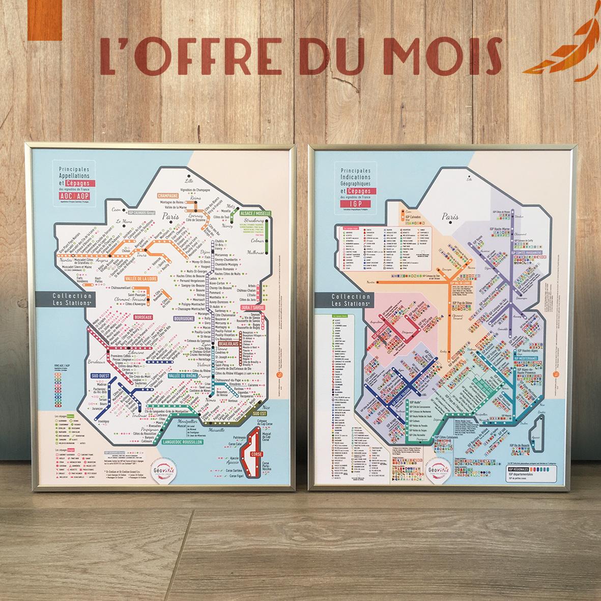 OFFRE DU MOIS Duo Cartes de France des vins Les Stations Pétillantes Géovitis AOP et IGP 30x40