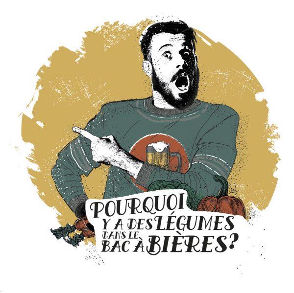 Affiche Vin Humour 30x30 Pourquoi y'a des légumes dans le bac à bières ?