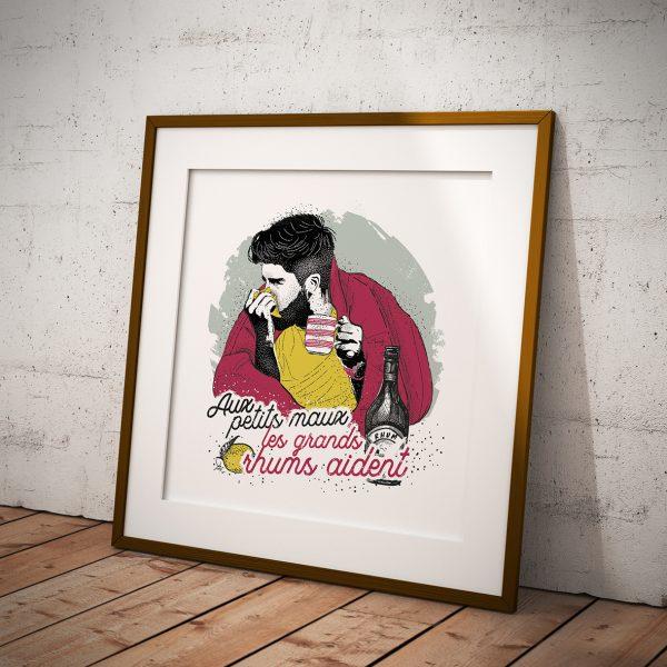 Affiche Vin Humour 30x30 Aux petits maux, les grands rhums aident