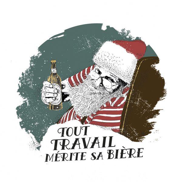 Affiche Vin Humour 30x30 Tout travail mérite sa bière