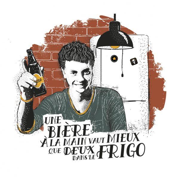 Affiche Vin Humour 30x30 Une bière à la main vaut mieux que deux dans le frigo