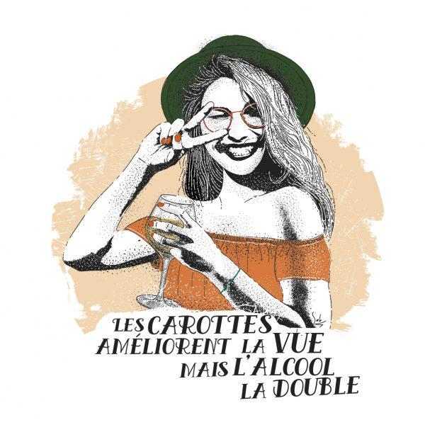 Affiche Vin Humour 30x30 Les carottes améliorent la vue mais l'alcool la double
