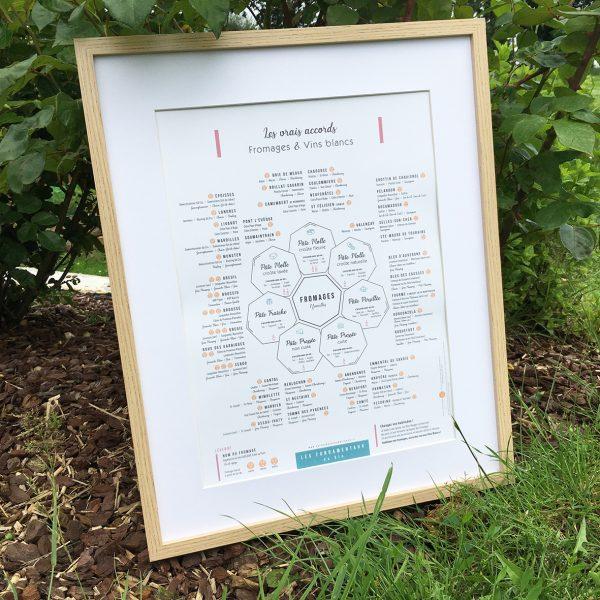 Affiche Les vrais accords Fromages et Vins blancs 30x40 APAISANTE