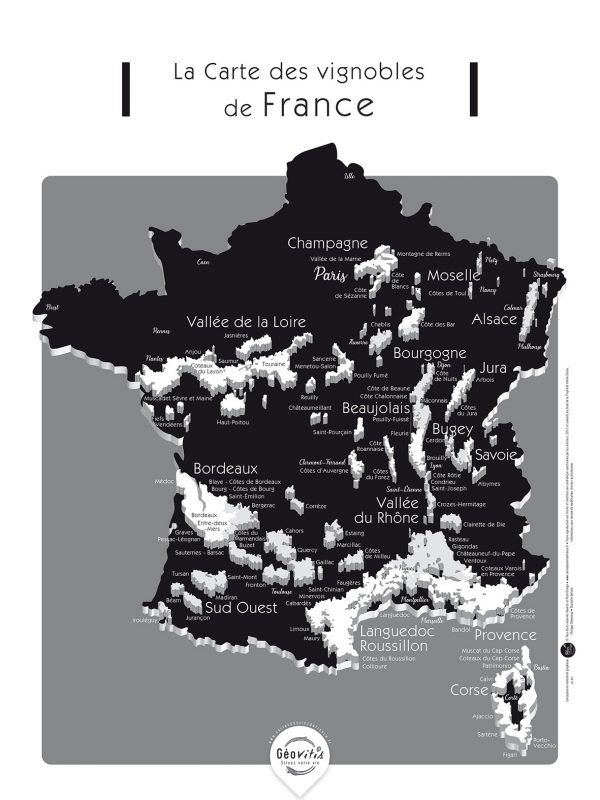 Carte France Vins GEOVITIS DECOUVERTE Séduisante 30x40